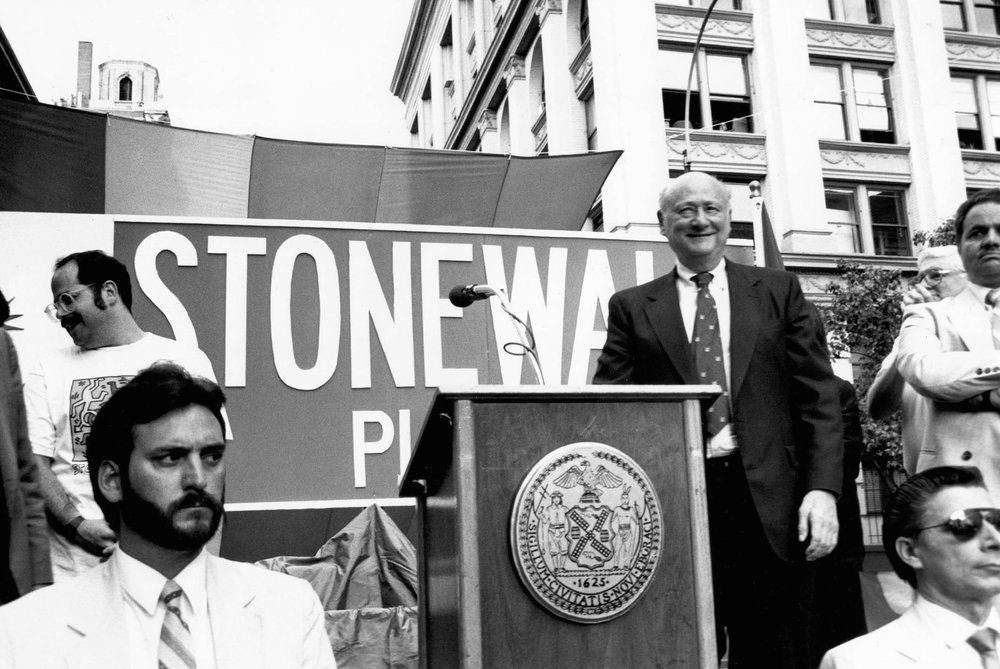 Naming of Stonewall Place, June 1, 1989. Photograph by Joan Vitale Strong,   Mayor Edward I. Koch Collection, NYC Municipal Archives.