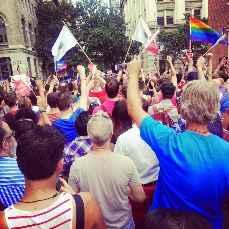 Celebration of the passage of the Federal Gay Marriage Act,   United States v. Windsor,   outside the Stonewall Inn,   June 2013.   Photograph by Nathalie Belkin.