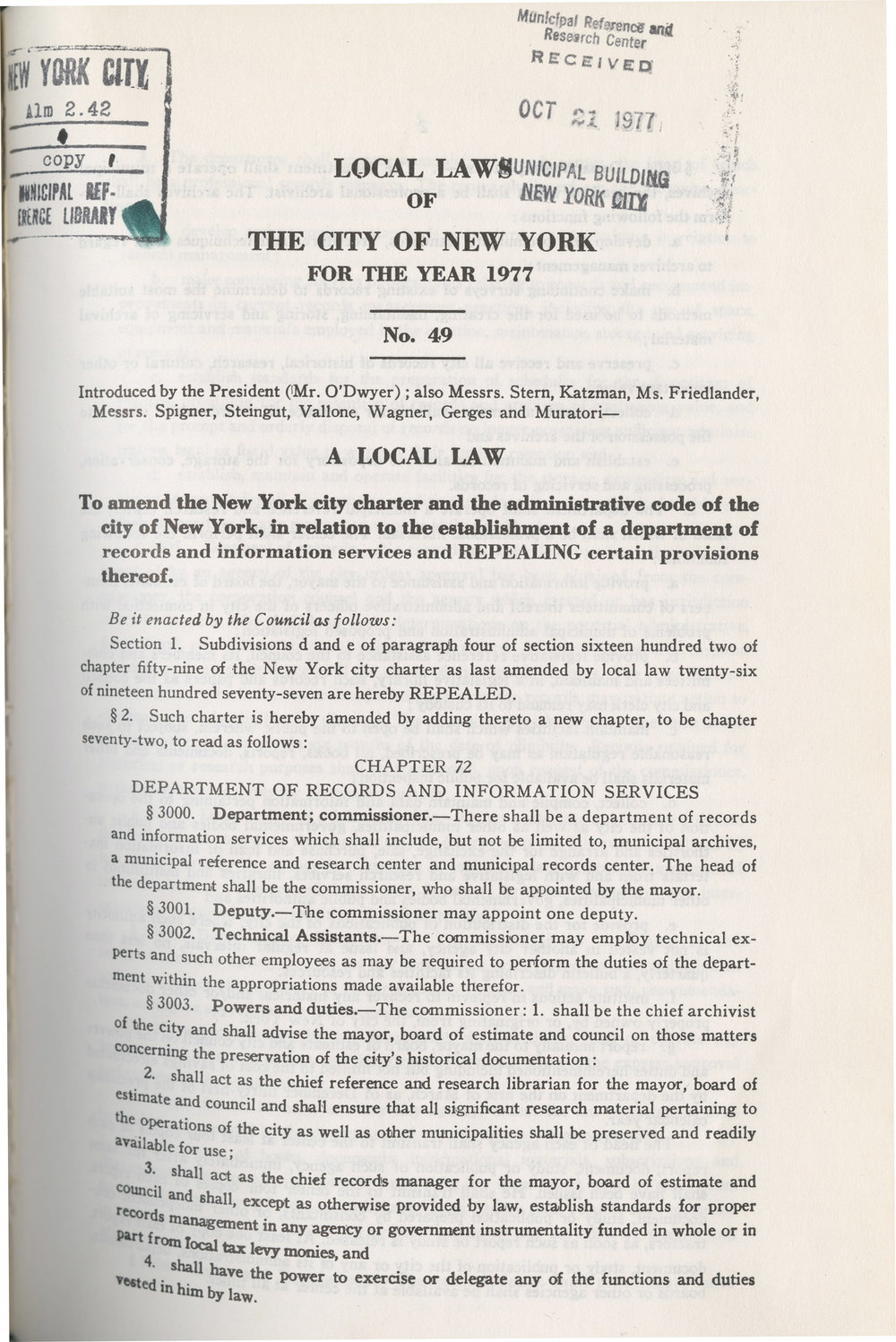 Local law 49 established DORIS in 1977. The first page is pictured. NYC Municipal Library.