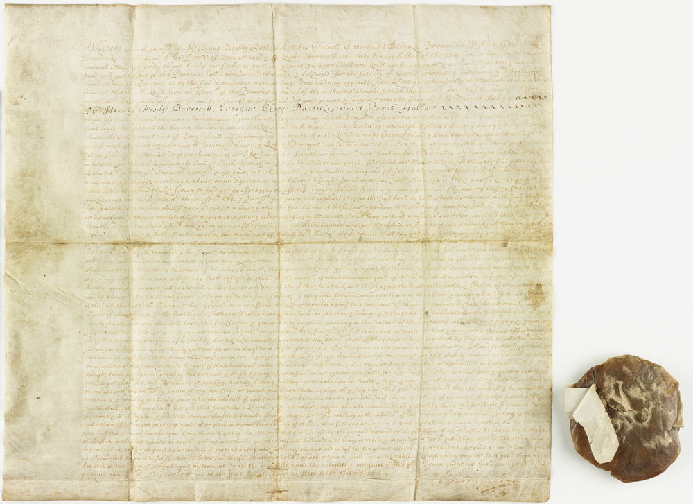 The Gravesend deed with wax seal.  This deed granted a tract of land in Brooklyn to Lady Deborah Moody, an English noblewoman.  The document is signed by Director-General Petrus Stuyvesant.  NYC Municipal Archives.