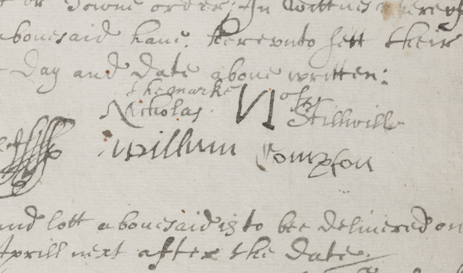 The mark of Nicholas Stillwell.  Stillwell consistently drew his first initial backwards.  NYC Municipal Archives.