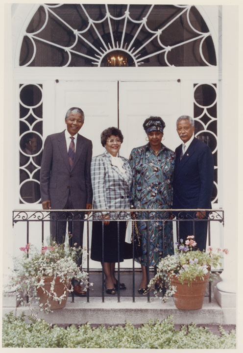 Nelson Mandela, Joyce Dinkins, Winnie Madikizela-Mandela, and Mayor Dinkins at Gracie Mansion, June 23, 1990.  Mayor David N. Dinkins Photograph Collection, NYC Municipal Archives.