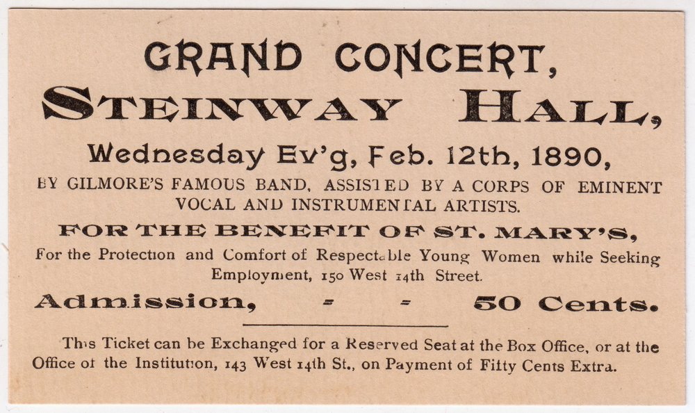 Ticket for concert at Steinway Hall, 1890. Mayor Hugh J. Grant subject files, NYC Municipal Archives.