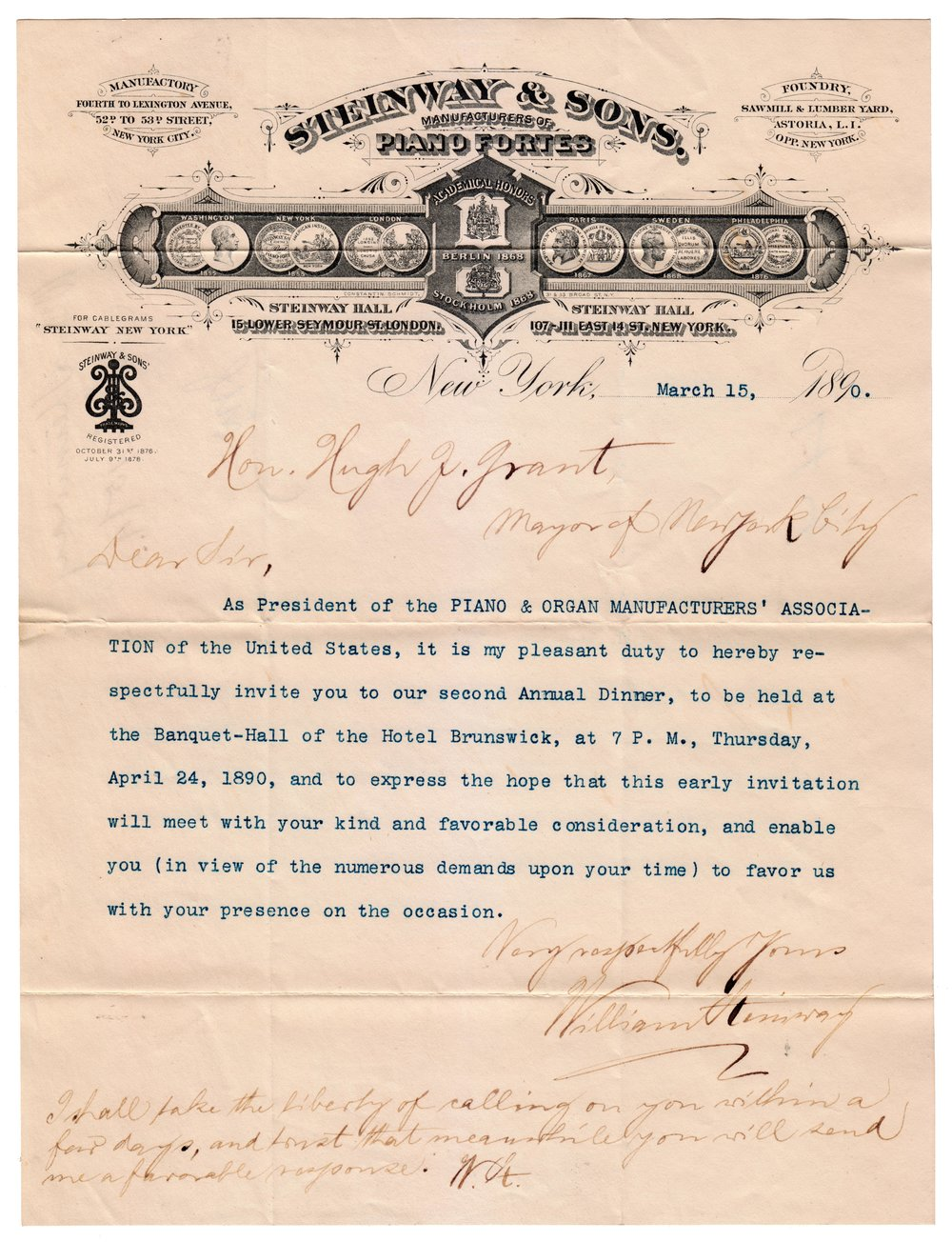 Letter from William Steinway to Mayor Grant, 1890. Mayor Hugh J. Grant subject files, NYC Municipal Archives.
