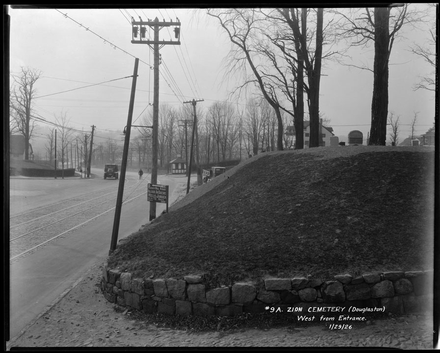 Zion Cemetery on Northern Boulevard in Douglaston, Queens, 1926. View west from cemetery at church entrance. Borough President Queens collection, NYC Municipal Archives.