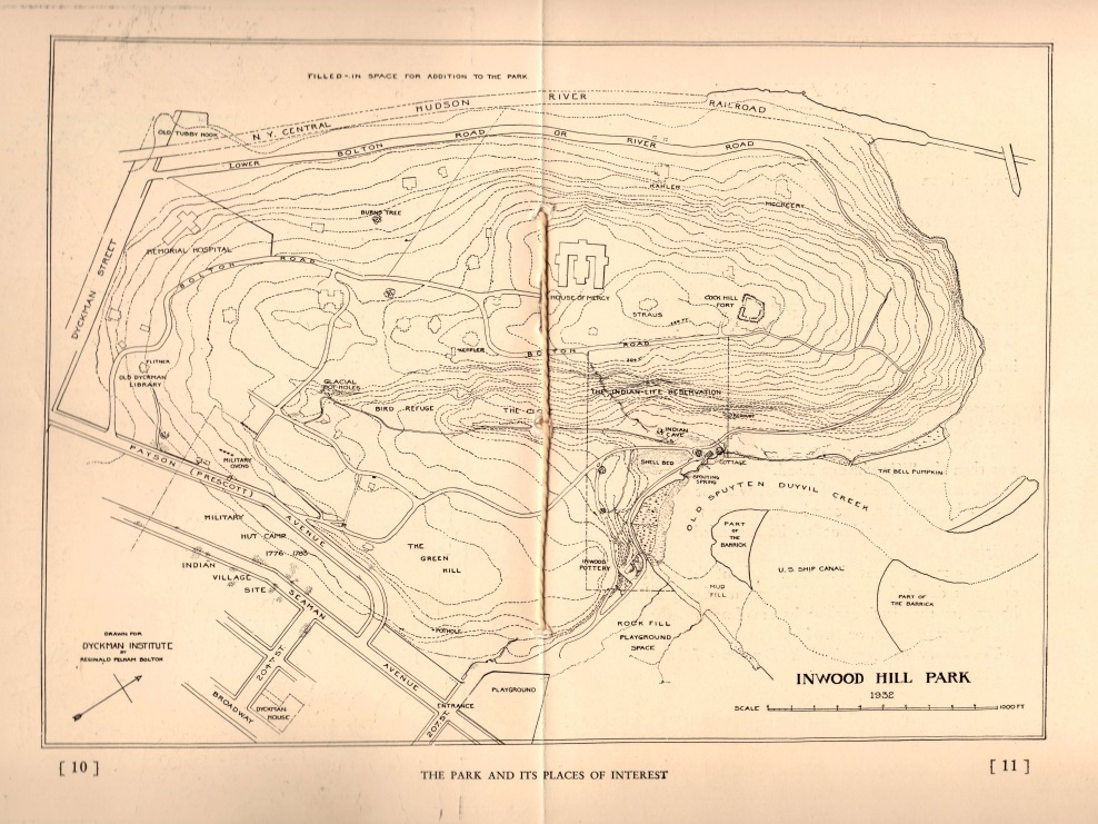 Map of Inwood Hill Park, 1930, from  Inwood Hill Park , Reginald Pelham Bolton