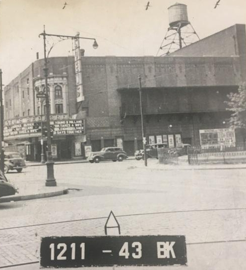 "Loew's Bedford in the 1940s.  The marquee advertises the movie,""Doctor Takes a Wife."""