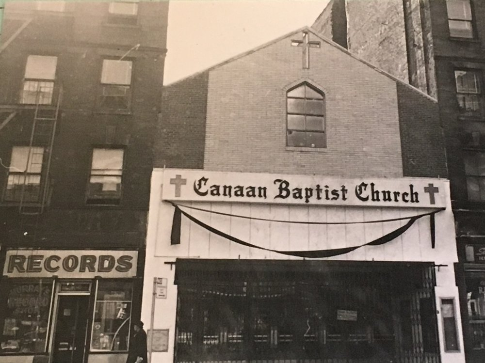 Photo of the church in 1966 with a new building façade; the marquee was removed and replaced with the name of the church and a pair of crosses.