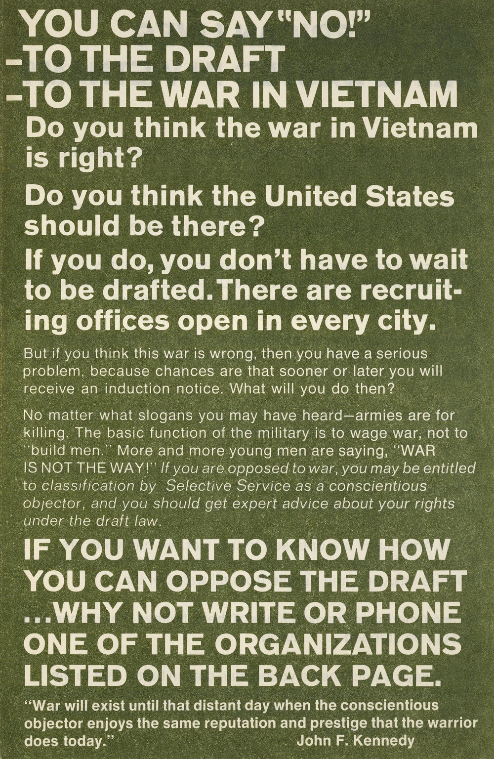 Say no to the draft pamphlet