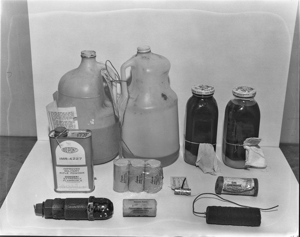 "Bombs at Police Bomb Squad Office in connection with ""Minute Men"" arrest, November 3, 1966"