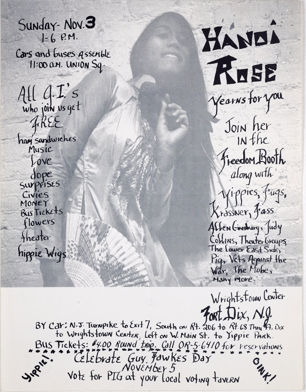 Hanoi Rose Yearns for You flyer, November 1968  - The anti-war movement attracted a cross-section of activists including musicians, poets, and artists. This flyer illustrates the social component of the movement. Fort Dix, in New Jersey was an Army boot camp. The base offered Vietnam-specific combat training and included a mock Vietnamese village.
