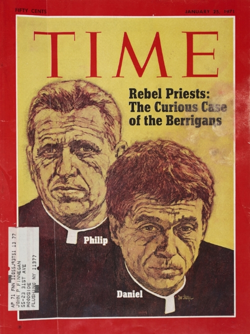 Rebel Priests: The Curious Case of the Berrigans, Time Magazine, January 21, 1971 - Catholic anti-war activists, the Reverends Daniel and Phillip Berrigan, members of the Catonsville Nine, were sentenced to 3 years in federal prison  for destroying draft cards.  Their actions inspired other activists to pursue civil disobedience.