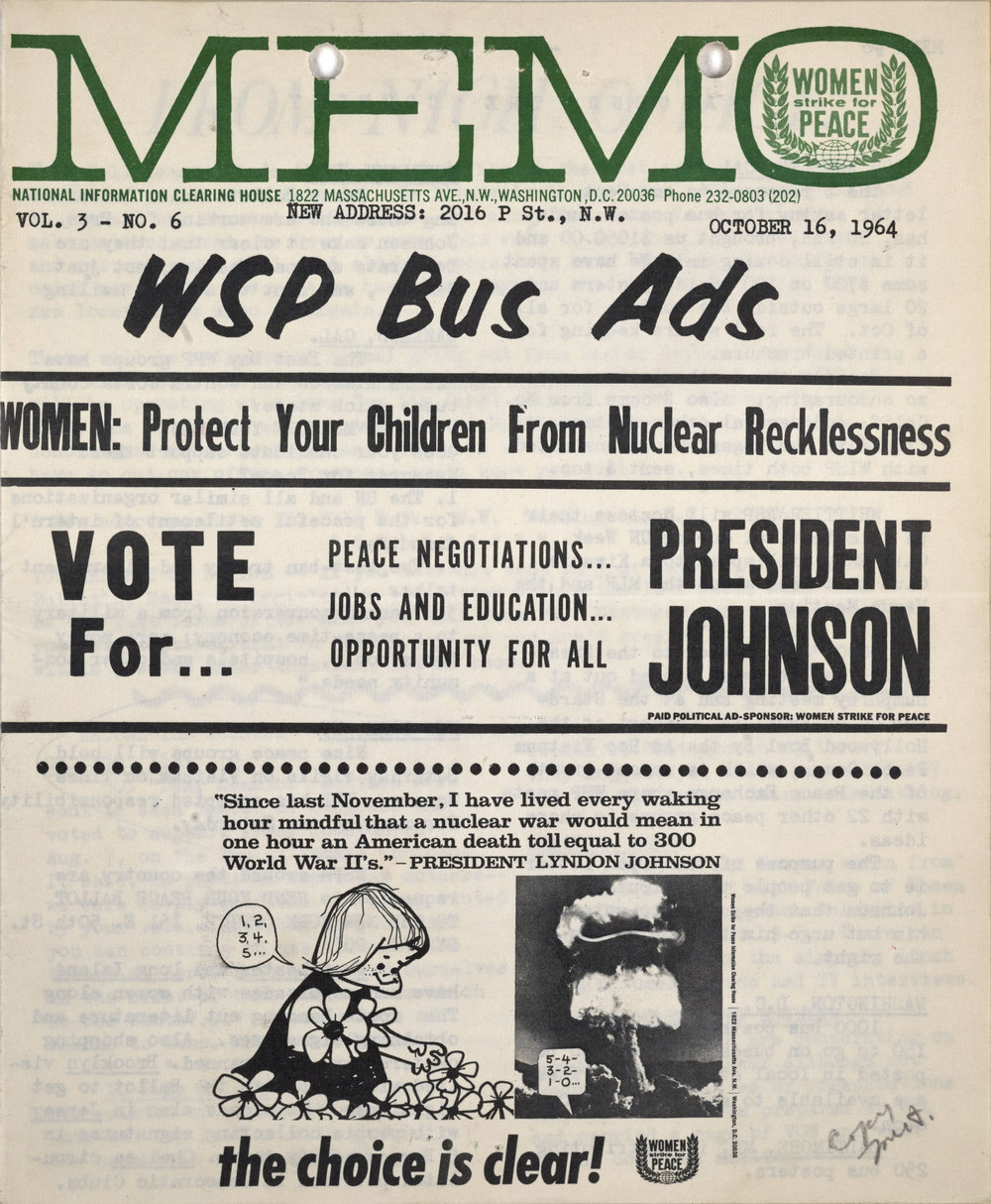 Women's Strike for Peace MEMO Newsletter, October 16, 1964