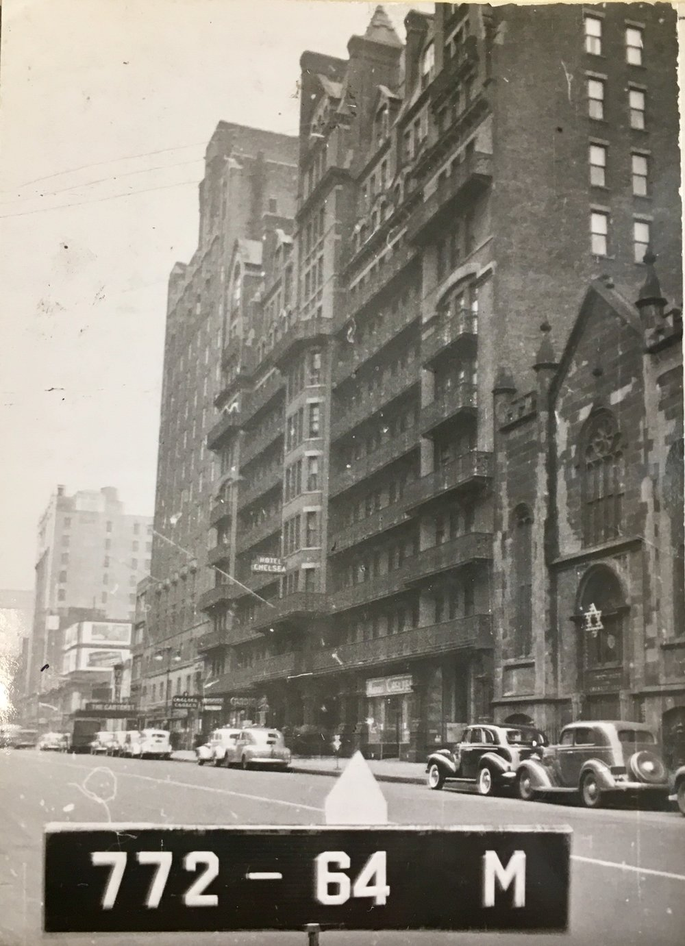 The Chelsea Hotel at 222 West 23rd Street, circa 1940. Department of Finance Collection, NYC Municipal Archives.