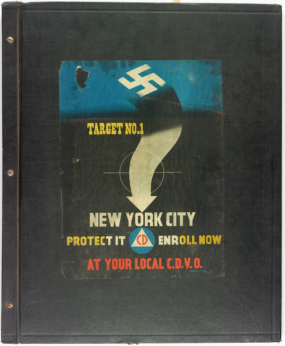 Cover of the Office of Civil Defense Scrapbook from Mayor La Guardia's papers. This poster and slogan were used throughout the war and emphasized the fear felt by many New Yorkers.