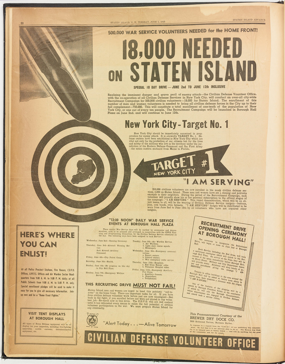 Advertisement from the  Staten Island Advance , June 1, 1943. Mayor La Guardia Papers, NYC Municipal Archives.