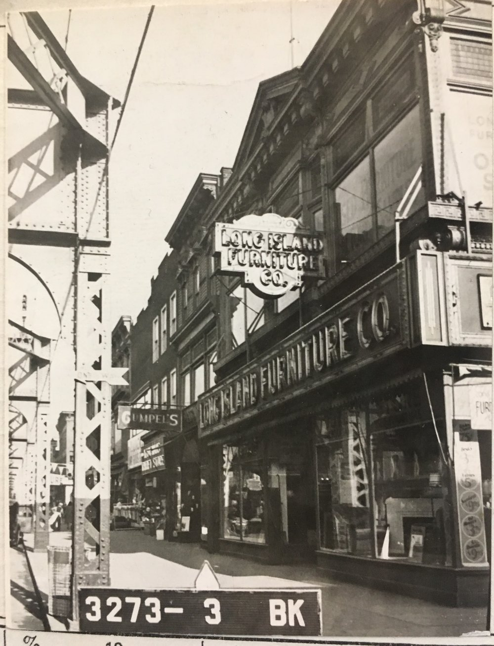 Long Island Furniture located at 1211 Broadway in the 1940s. Department of Finance Collection, NYC Municipal Archives.