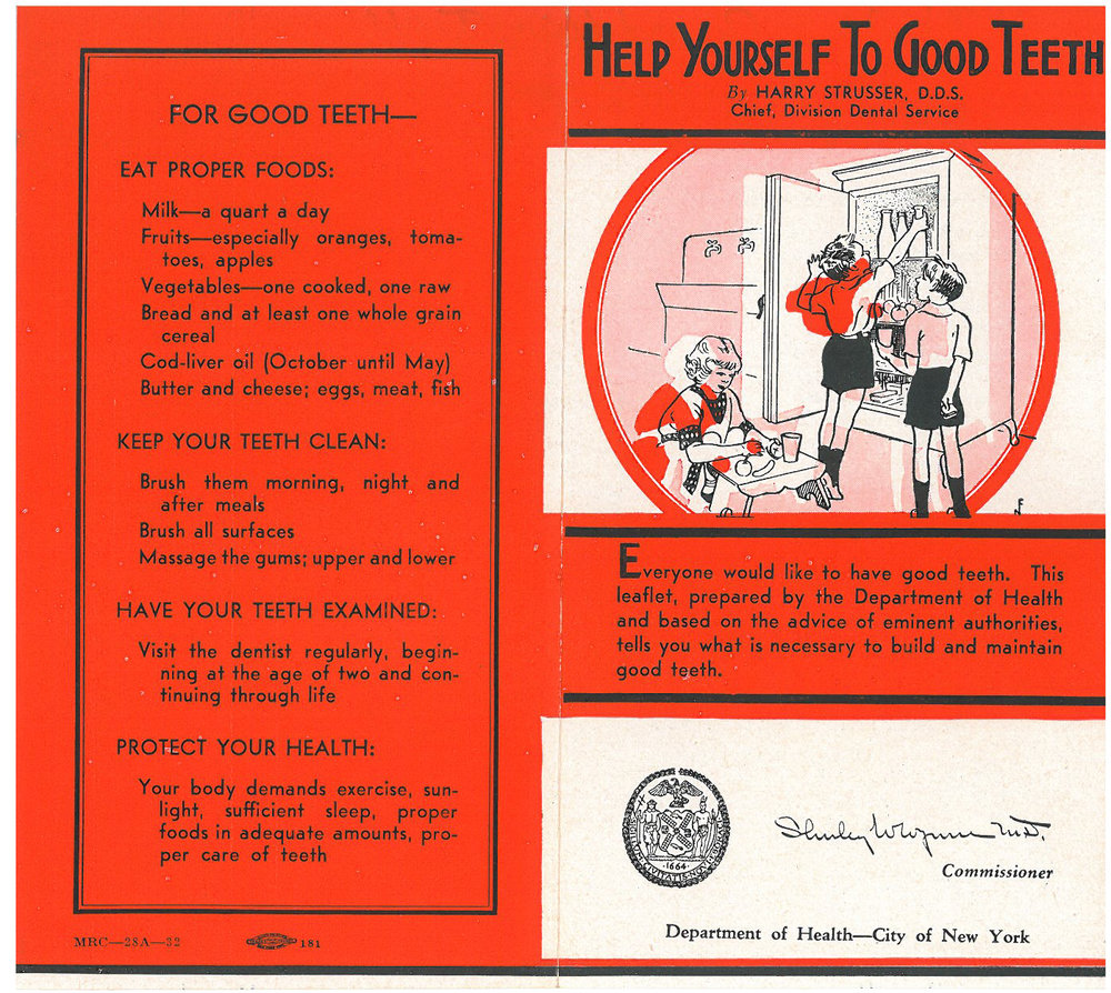 This 1932 Department of Health pamphlet emphasizes the connection between dental health and overall well-being and includes diet and brushing recommendations for parents.