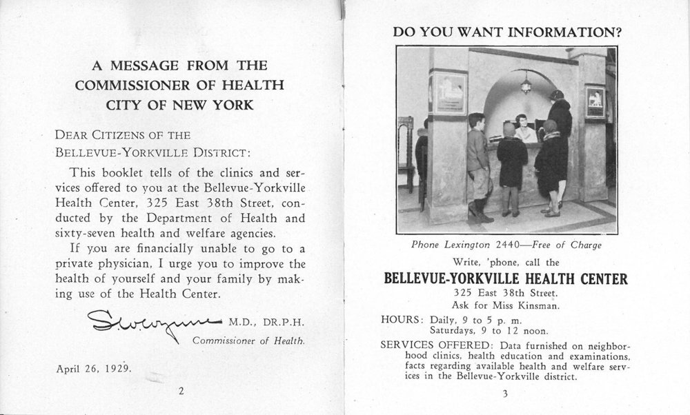 This 1929 pamphlet for a privately- funded, city-operated clinic advertises a variety of free services from prenatal care to nutrition and dental exams.