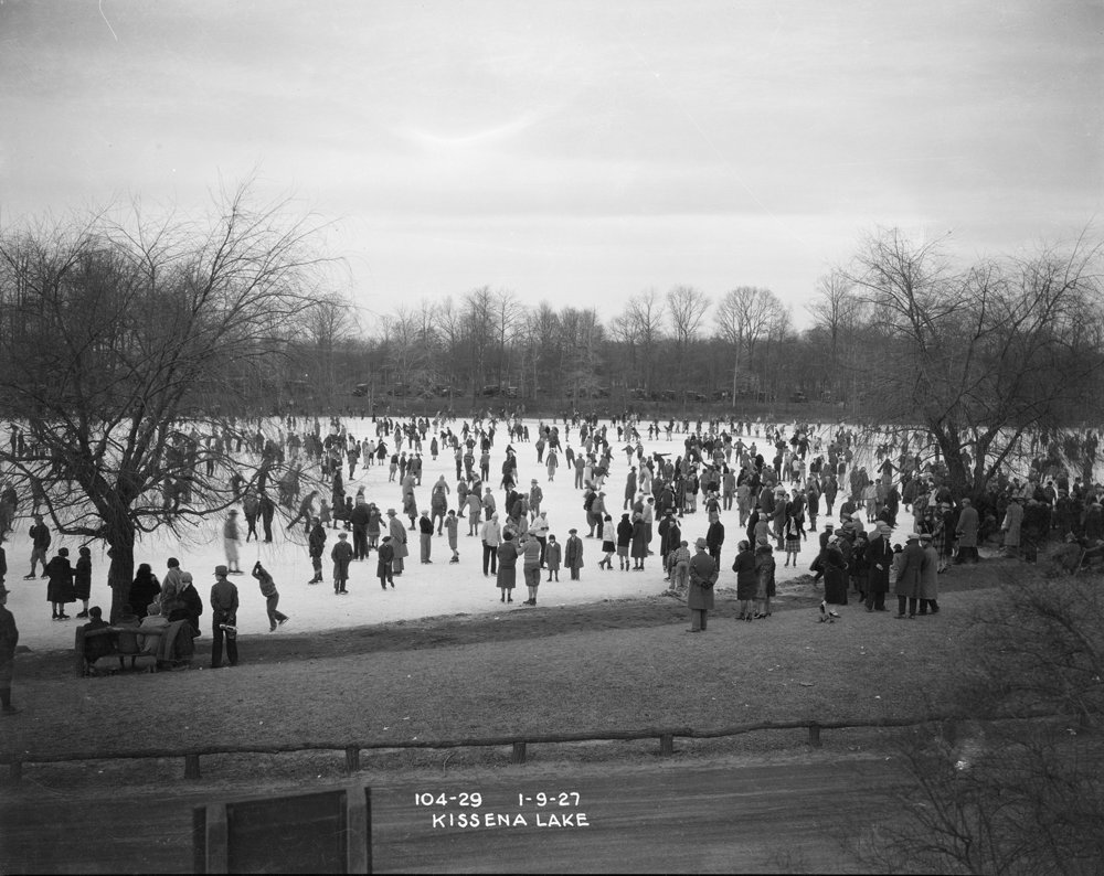 People ice skating on Kissena Lake, January 9, 1927. NYC Municipal Archives, Borough President Queens Collection.