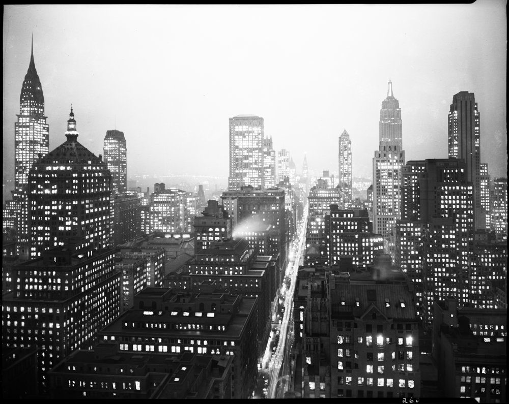 Night View Midtown Manhattan, NYC Municipal Archives. WPA Federal Writers' Project Collection, NYC Municipal Archives.