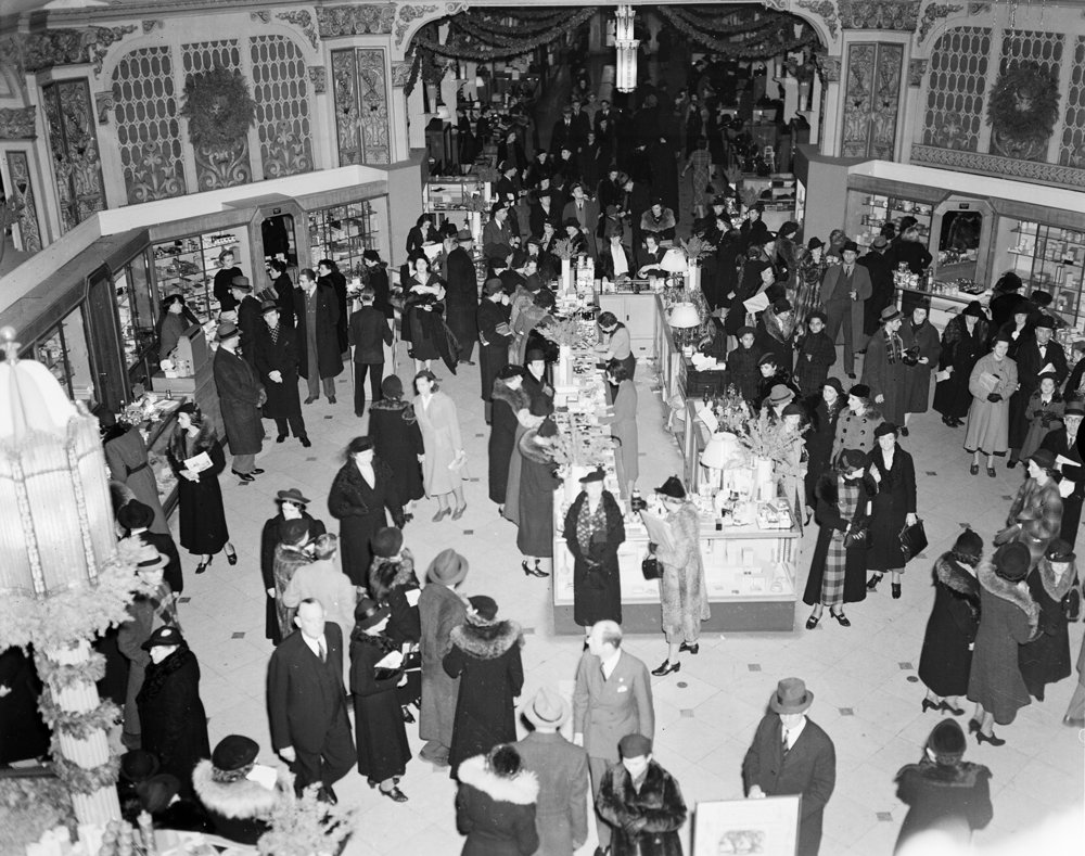 Christmas shopping at Wanamaker's Department Store, Broadway at 9th Street, ca. 1937.  WPA Federal Writers' Project Collection, NYC Municipal Archives.