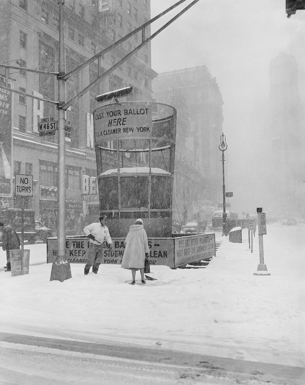 Snow removal from Times Square, March 9, 1960. Department of Sanitation Collection, NYC Municipal Archives.