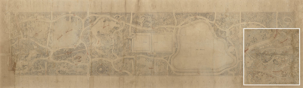 The Greensward Plan with magnified section. The northeast corner of the park was originally designed as an arboretum highlighting American trees and shrubs. Some items included in the plan, like the formal garden left of center, were requirements of the design competition, but not the style of Olmstead and Vaux. They were excluded from the final plans.