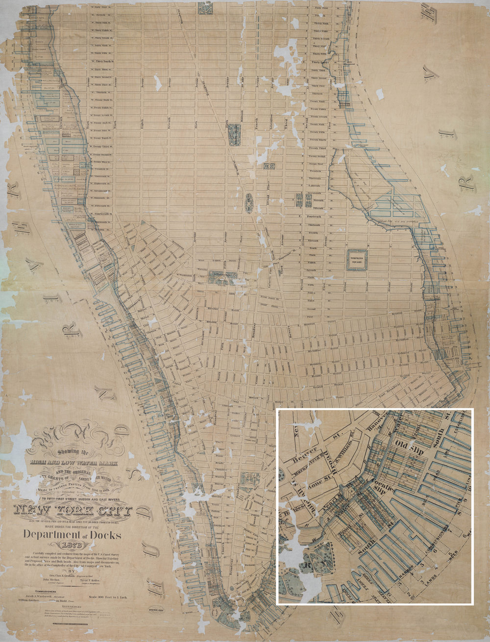 The Department of Docks drawing with magnified section showing piers and the old water lines of the East River