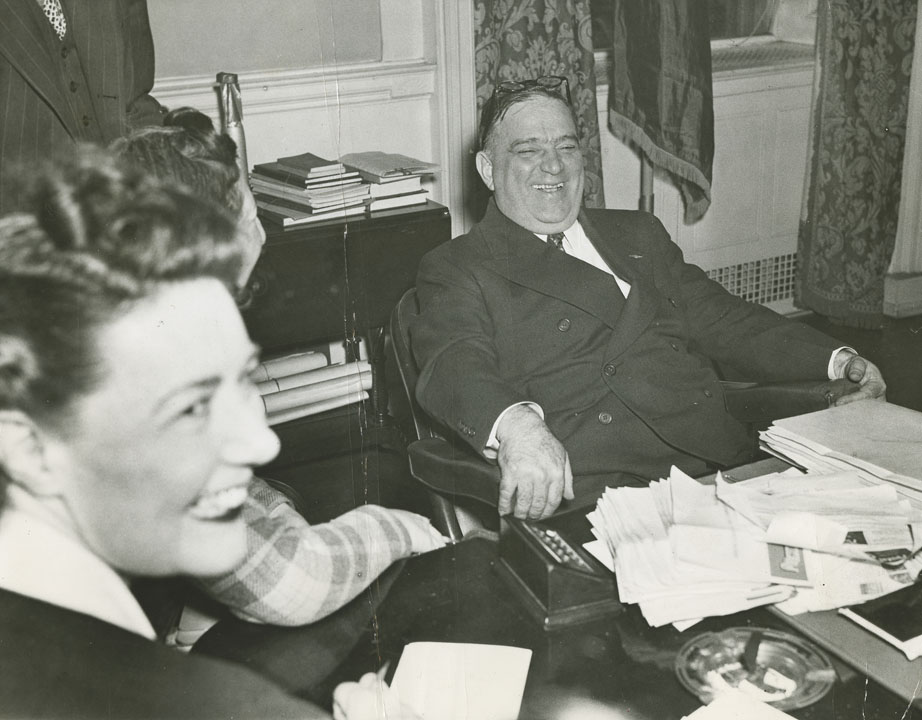 LaGuardia at his desk the day after re-election, defeating William O'Dwyer, November 5, 1941. International News Photos, Mayor LaGuardia Papers, NYC Municipal Archives.