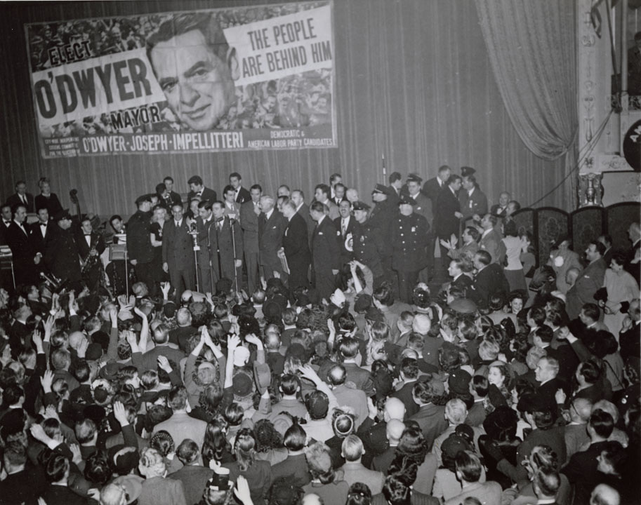 Election night - O'Dwyer makes first public address as mayor-elect of NYC, November 6, 1945. Acme Photo, Mayor O'Dwyer Papers, NYC Municipal Archives.