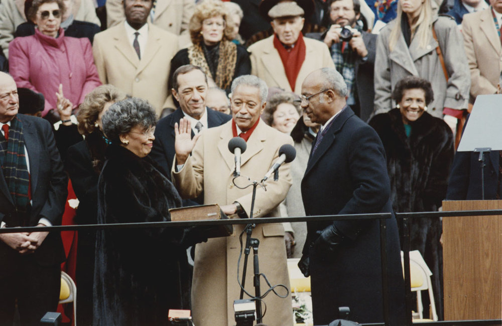 Mayor Dinkins swearing-in ceremony, steps of City Hall. January 1, 1990. Mayor Dinkins Papers, papers, NYC Municipal Archives.