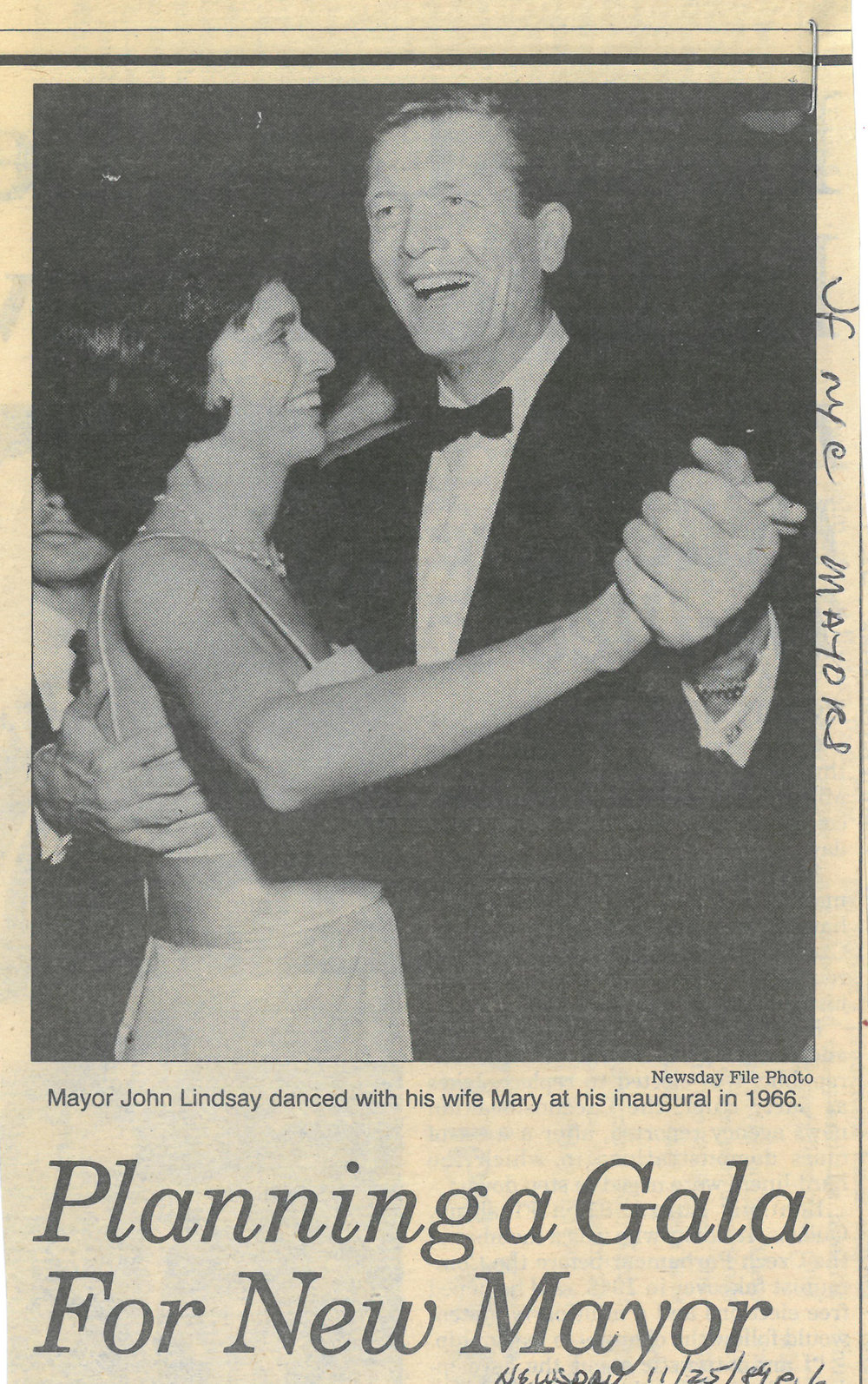This  Newsday  File Photo shows the smiling Mayor John V. Lindsay with his wife Mary at his 1966 inaugural. The smile faded quickly. At 2 a.m. on January 1st, the new Mayor issued a press release announcing negotiations between the Transport Workers Union and the Transit Authority had broken down and a transit strike would commence at 5 a.m. NYC Municipal Library.