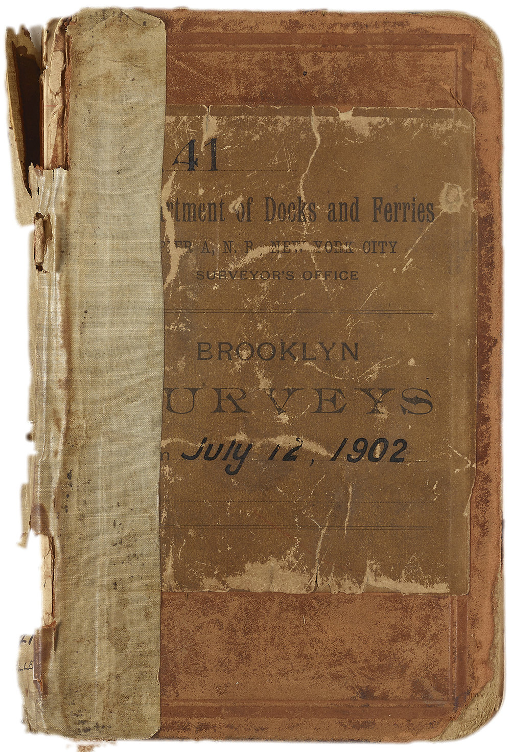 Used by an employee of the Department of Docks and Ferries, this 1902-1903 surveyor's notebook contains hand-sketched maps of Brooklyn, largely focused on the waterfront. Department of Ports and Trade Collection, NYC Municipal Archives.