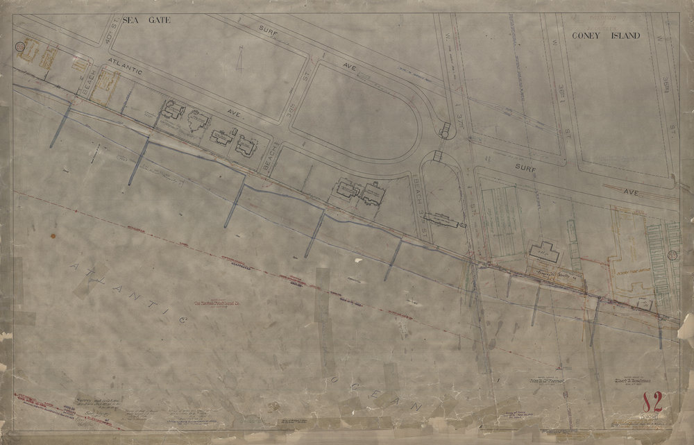 Waterfront Survey Map #2068, Brooklyn Red Survey Map 82, Coney Island/Seagate, Oct. 1900, updated through the 1960s. Department of Ports and Trade Collection, NYC Municipal Archives
