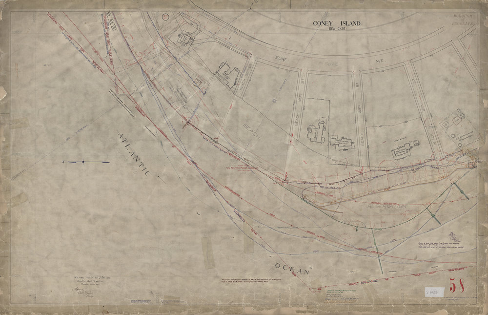 Waterfront Survey Map #1023, Brooklyn Map 58, Coney Island/Seagate, Nov. 1899, updated through the 1960s. Department of Ports and Trade Collection, NYC Municipal Archives
