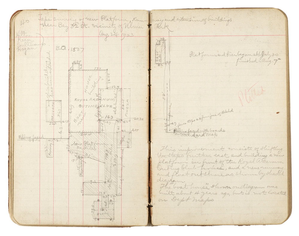 """Surveyor book 1903. The notes mention this survey was done for an improvement to shift the steps further east and building a new platform in front of the Royal Arcanum Outing Club house, """"built about 4 years ago, but is not located on Dept maps."""""""