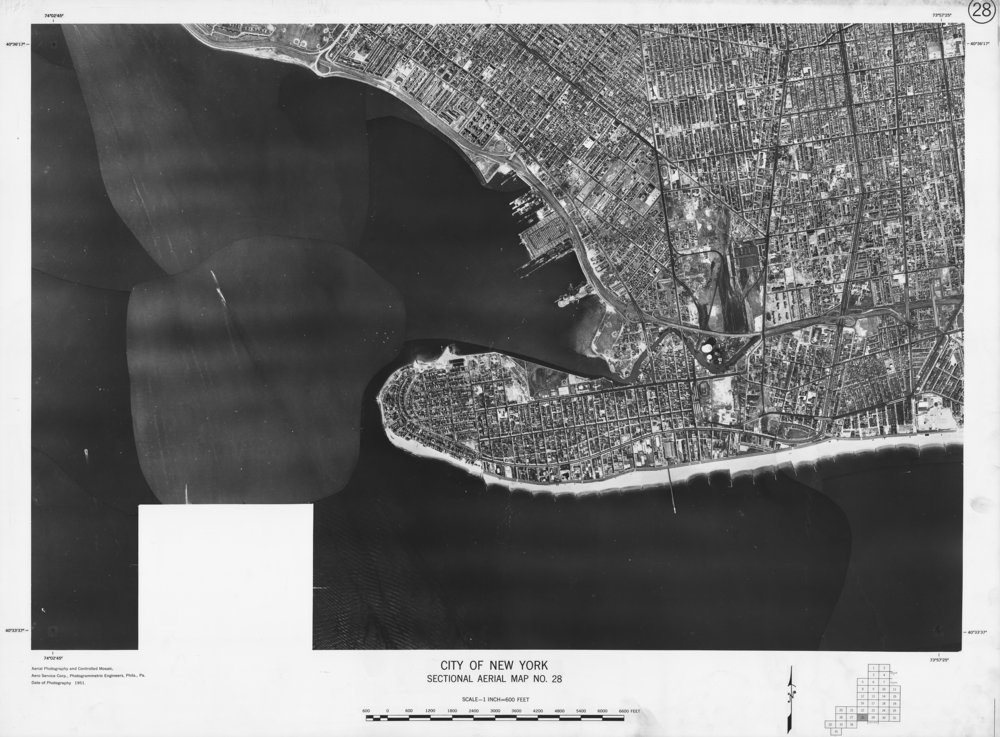 Sectional Aerial Map of the City of New York, No. 28, Coney Island, Gravesend, Brooklyn, 1951. Aero Service Corp.NYC Municipal Archives.