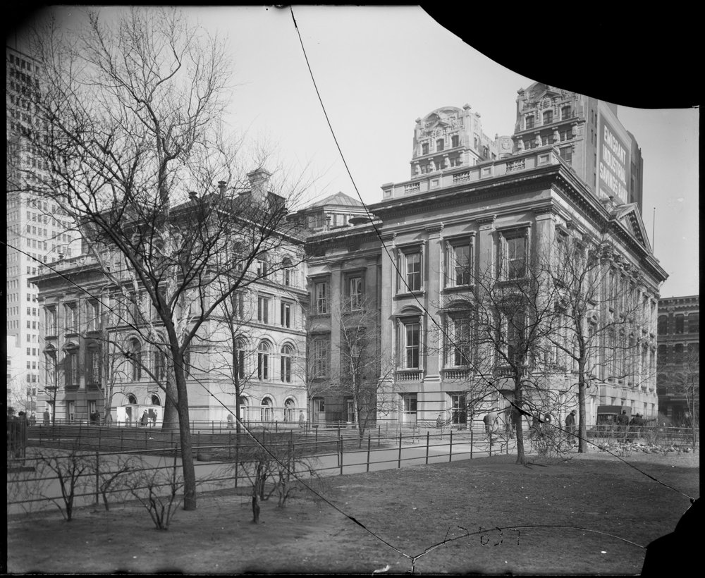 Tweed Courthouse from City Hall Park, February 8, 1938. Department of Bridges/Plant & Structures collection, NYC Municipal Archives.