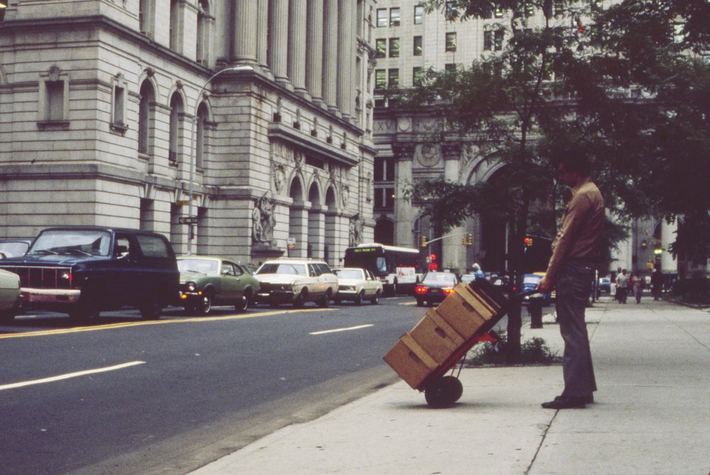 We did use trucks, but some boxes were just wheeled across the street to our new home at 31 Chambers Street. Photo by Kenneth R. Cobb.
