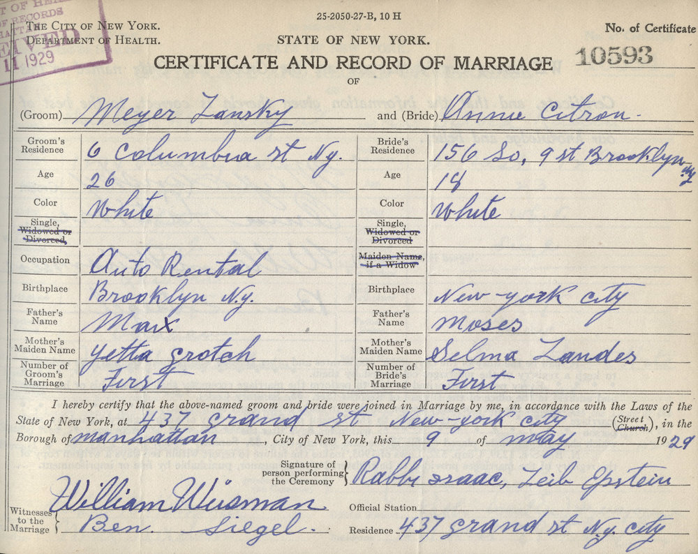 "The marriage certificate of the gangster Meyer Lansky, witnessed by his partner-in-crime Benjamin ""Bugsy"" Siegel in 1929. NYC Municipal Archives"