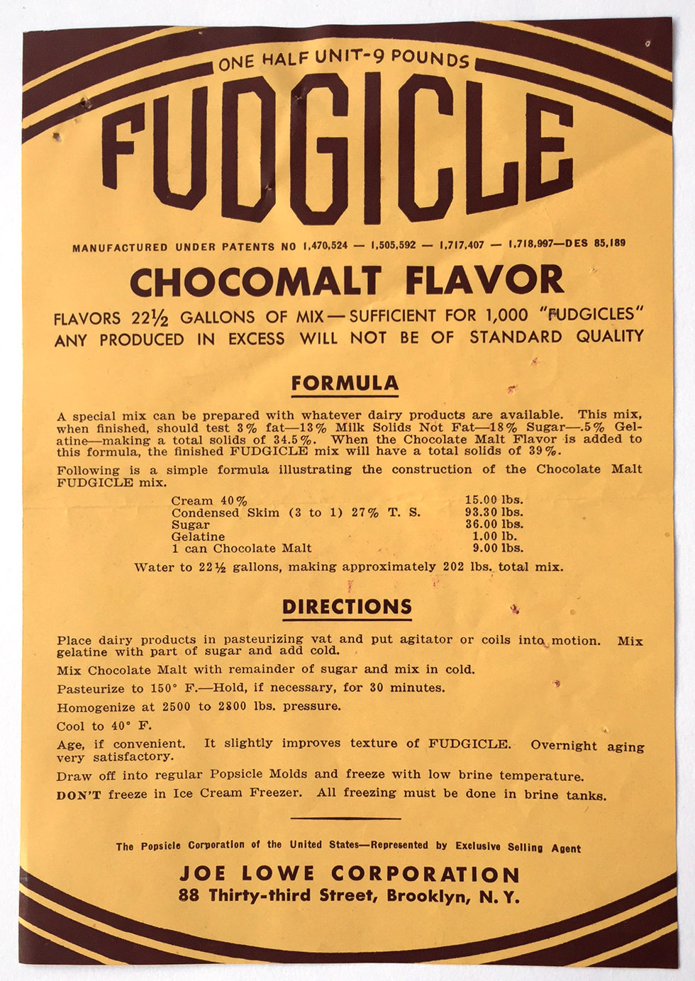 Fudgicle recipe leaflet sent to Department of Health in 1933. Department of Health collection, NYC Municipal Archives.