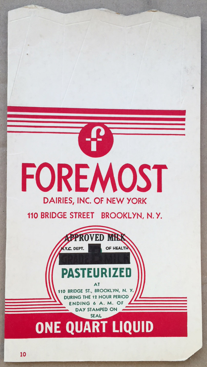 Cardboard milk carton, 1940. Department of Health collection, NYC Municipal Archives.