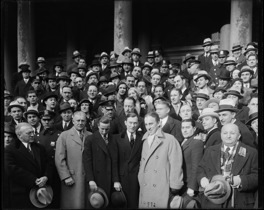 Olympic World Champions at City Hall, February 19, 1932. Photo by Eugene de Salignac. Dept of Bridges/Plant & Structures Collection, NYC Municipal Archives.