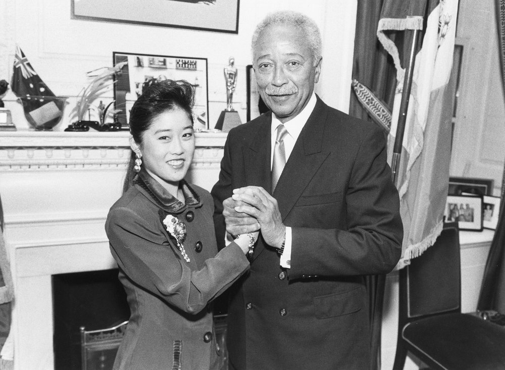 Mayor David Dinkins with Kristi Yamaguchi, Olympic gold-medalist, 1992. Mayor David N. Dinkins Collection, NYC Municipal Archives.