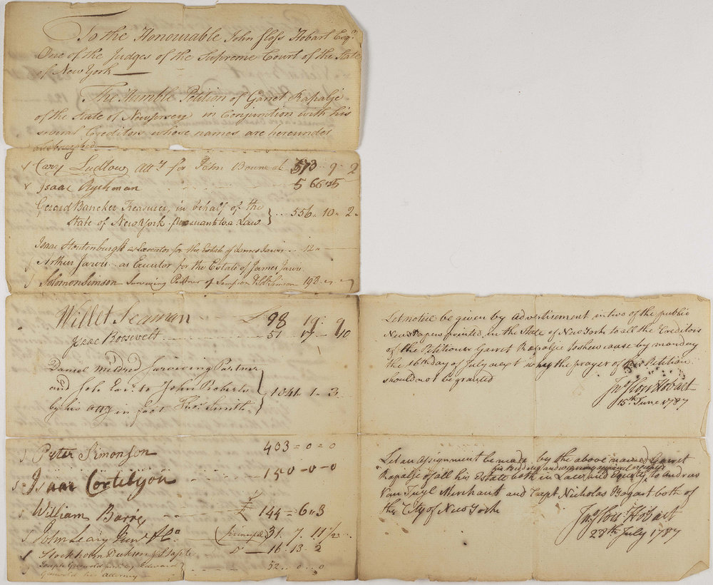 Petition of Garret Rapalje and his creditors to Judge John Sloss Hobart, signed by his creditors, 1787. NYC Municipal Archives.