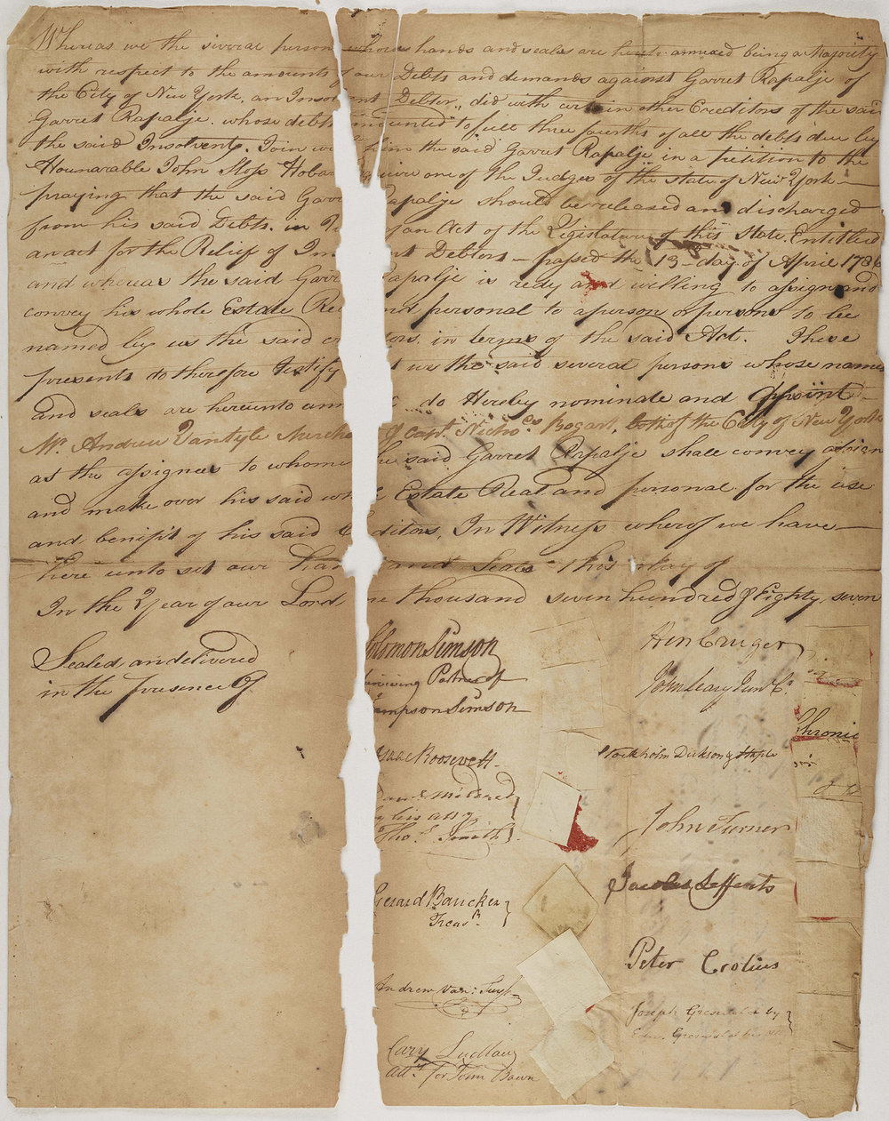 Appointment of assignees to the estate of Garret Rapalje, 1787. The assignees are Andrew Van Tuyle and Nicholas Bogart.