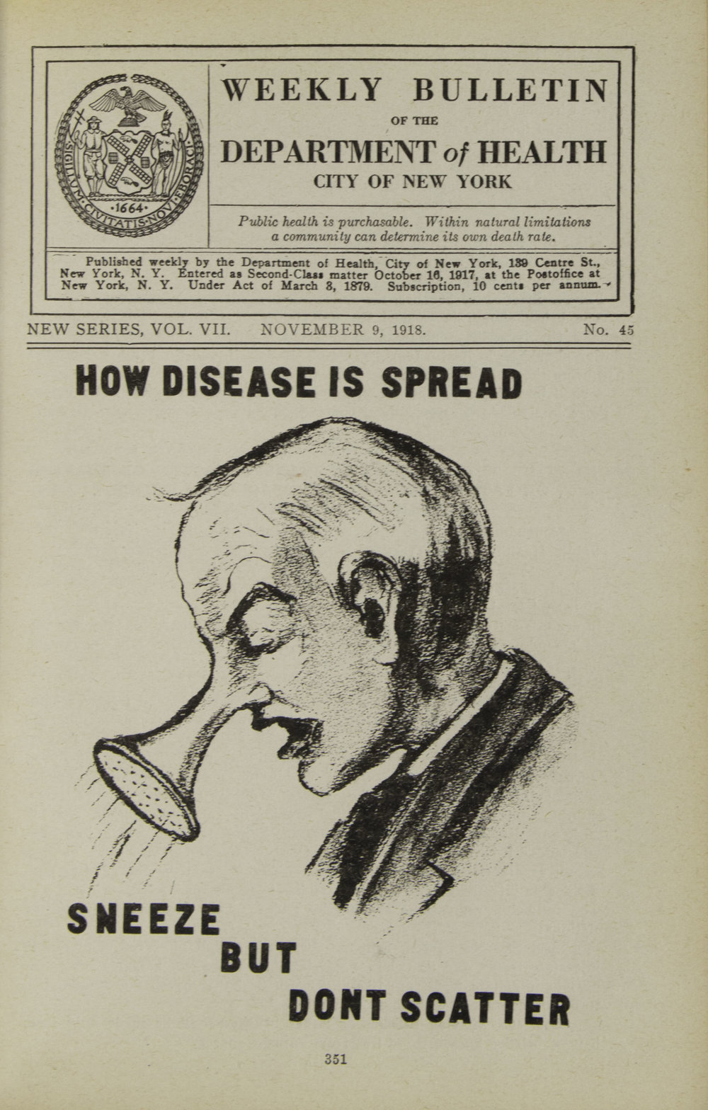 Weekly Bulletin of the Department of Health , October 19, 1918. NYC Municipal Library.