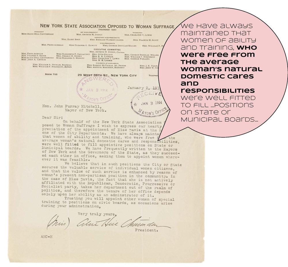 Suffragists vs. Anti-suffragists, 1914, Mayor John P. Mitchel Subject Files