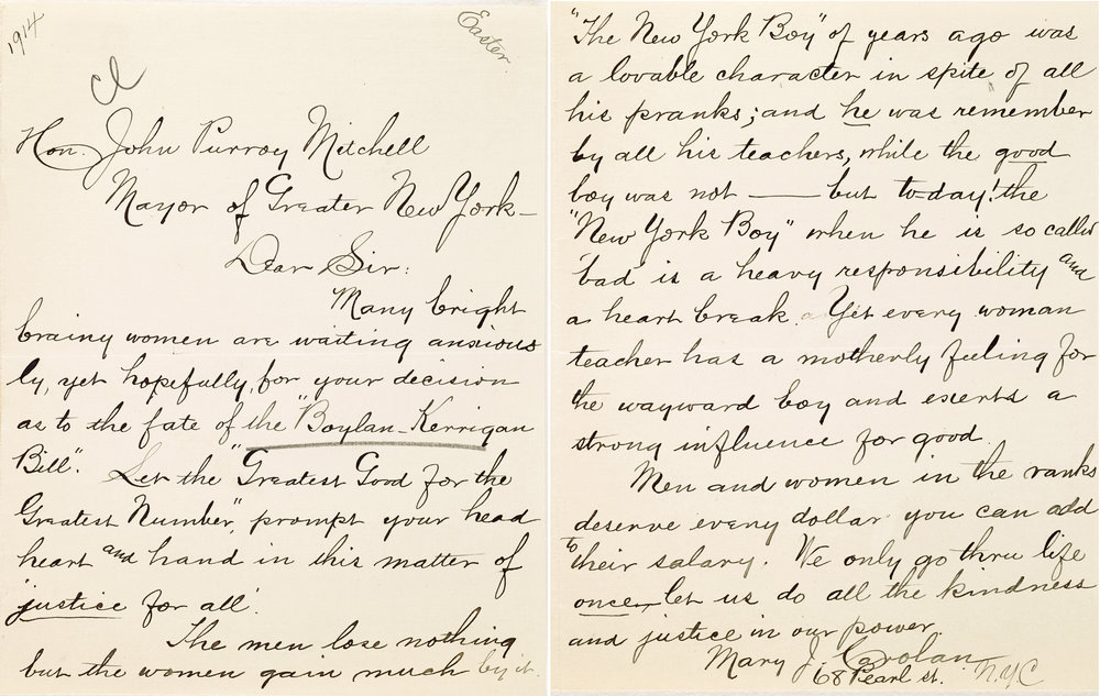 Letters from the collections of Mayors Seth Low, McClellan, and William Gaynor illustrate the debate around equal pay.